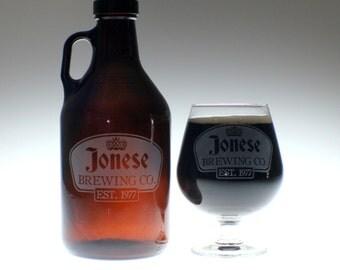 Personalized Beer Growler & 2 glass set with Triple Hop Perry art , wedding gift , personalized growler, custom Beer Glass, Beer Gift, Beer