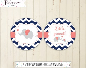 navy cupcake toppers printable elephant baby shower printable little peanut elephant baby shower toppers navy and coral cupcake toppers 120
