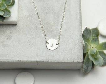 Round Disc Initial Necklace, 11mm,  Gold Filled or Sterling Silver