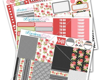 Shabby Rose Floral Planner Sticker Kit 200+ functional stickers, for use with Erin Condren Planner Sticker Kit, Weekly Planner Kit #SQ00897