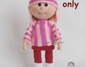 Doll in sweater and hat, amigurumi crochet and knitting PDF pattern