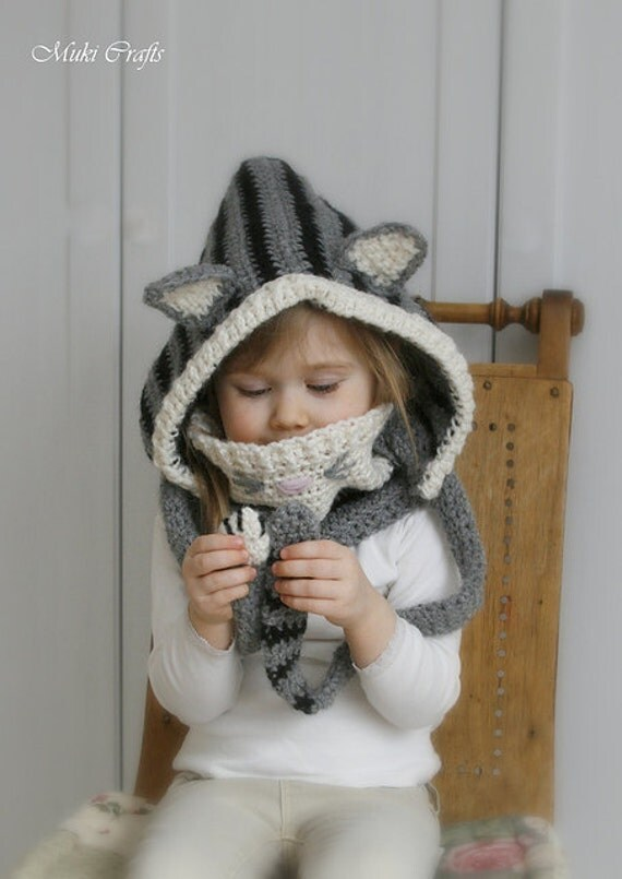 CROCHET PATTERN cat hood and cowl set Misty (baby, toddler, child and adult sizes)