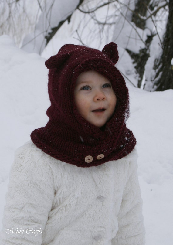 Childrens Hood Knitting Pattern : KNITTING PATTERN hood cowl Rowan baby toddler child by ...