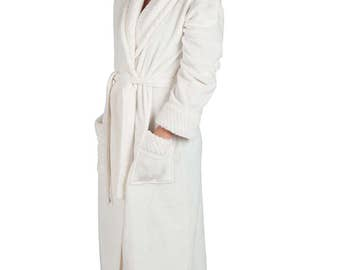 "Women's 48"" Spa Style Full Length Robe with Velvet Collar & Cuffs"