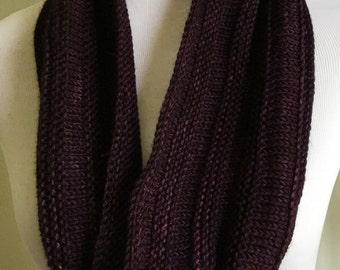 Hand knit merino wool cowl, purple merino cowl, hand knitted infinity scarf, ready to ship, hand knitted gift.