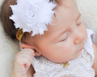 Baby Girl Headband, Gold Baby Headband, Gold Headband Baby, White and Gold Baby Headband, Baby Headband, Newborn Headband, Toddler Headband