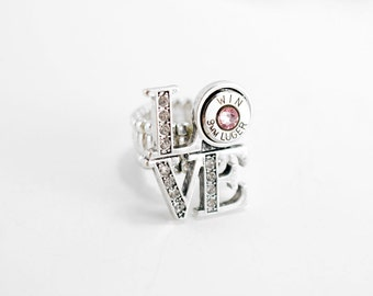 love ring crystal ring bullet ring 9mm ring ammo ring trendy rings cute rings bridesmaid jewelry gun jewelry 2nd amendment - Redneck Wedding Rings
