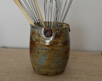 spoon crock, stoneware crock, utensil crock, spoon holder, kitchen storage, storage crock