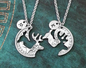 Coin Necklace Broken Coin Jewelry Deer Necklace Stag Necklace Couples Necklace Girlfriend Gift Boyfriend Necklaces Best Friends Deer Coin