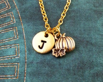 Pumpkin Necklace VERY SMALL Pumpkin Jewelry Personalized Necklace Halloween Necklace Monogram Autumn Jewelry Gold Pumpkin Charm Necklace