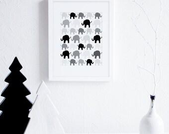 Black and White Nursery Decor, Elephants Nursery Art Print, Elephant Baby Room Decor, Scandinavian Nursery Art, Grey Printable Nursery Art