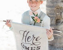 Here comes the bride sign, wedding sign, wedding banner, rustic chic sign, page boy sign, burlap sign, ring bearer sign, flower girl sign,