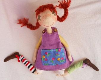 Handmade doll, Pippi longstocking, Rag doll , Handmade rag doll , Rag Pippi doll , Handmade Pippi doll , Natural doll , Natural rag doll