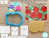 Rose 1, Flower, Owl, Fish & Octopus Cutter Designed by Ali Bee's Bake Shop - **Guideline Sketches to Print Below**