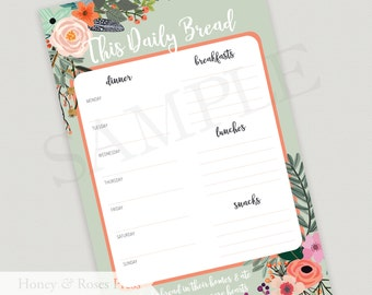 Meal Planner Notepad  .   Weekly Meal Planner  .  Tear-off Notepad