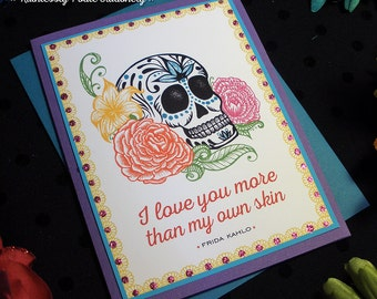 Skull + Roses in Violet Blue / Frida Kahlo Quote Handmade Greeting Card