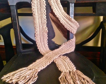 Scallop Detail Scarf, Custom Color Scarf, Skinny Fashion Scarf, Extra Long Scarf