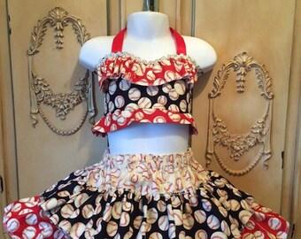 Baseball Dress, Girls baseball outfit, pageant baseball outfit, occ pageant wear, baseball set