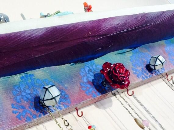 Floating shelves/ accent shelving /reclaimed Pallet wood shelf /jewelry holder storage /wall hanging organizer Mandalas 5 knobs 6 red hooks