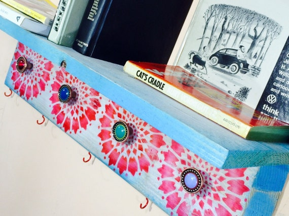 floating shelves pallet wood wall hanging book shelf /reclaimed wood decor wall organizer accent shelving stenciled mandalas 5 hooks 4 knobs