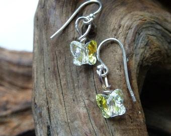 Handmade Swarovski crytal ab butterfly earrings on  925 silver earring hooks.