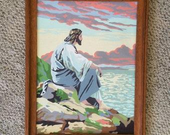 Vintage Paint by Number Jesus