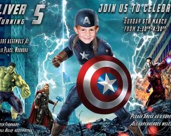 CAPTAIN AMERICA PARODY invitation, Captain America Birthday Invitation, Superhero Birthday Invitation, Superhero Invitation, Boys Birthday