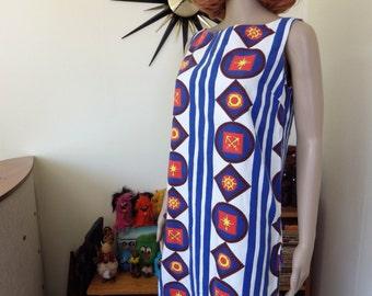 Vintage 60s/70s nautical cotton shift dress - size 8