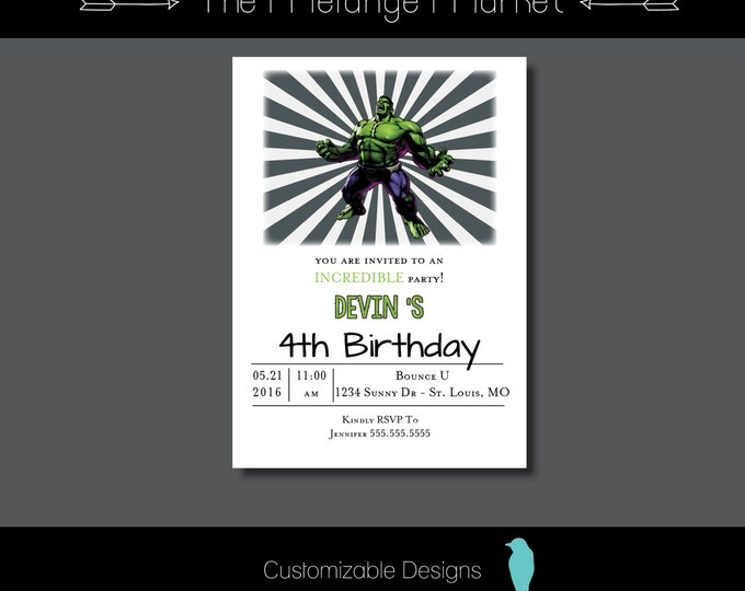 The Melange Market – Hulk Birthday Invitations