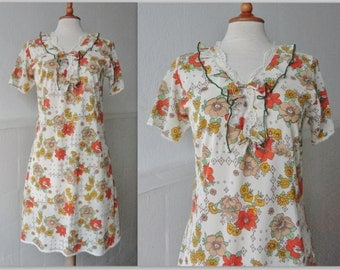 70s Vintage Lingerie Dress With Ruffles And Flower Print
