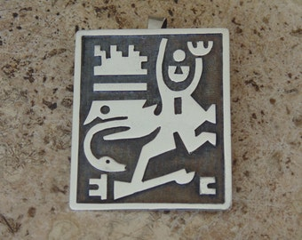 Oswaldo Guayasamin ~ Vintage 900 Silver Pendant / Pin with Pre-Columbian Figure
