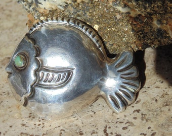 Mexican Sterling Large Puffy Fish with Green Eye Pin ~ c. 1940's
