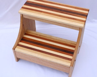 striped tread step stool heavy duty stool wood step stool solid wood - Step Stool