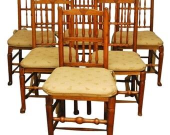 harlequin set of 6 lancashire style oak dining chairs