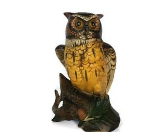 Vintage Enesco owl ceramic bird on a log figurine gift for mom