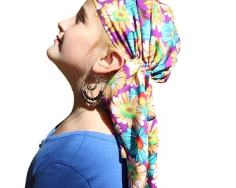 Ava Joy Children's Head Scarf - Colorful Sunflowers - Girl's Cancer Headwear, Chemo Scarf, Alopecia Hat, Head Wrap, Head Cover for Hair Loss
