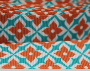 7/8 Inch Orange and Turquoise Grosgrain Ribbon by the Yard for Hairbows, Scrapbooking, and More!!