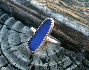 Sterling Silver Cobalt Blue Seaglass Stackable Ring