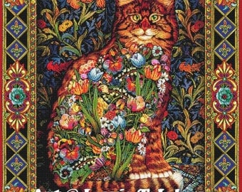 Tapestry Cat - high quality printed cross-stitch chart / pattern / kit, original art © Lewis T Johnson  licenced by Paine Free Crafts