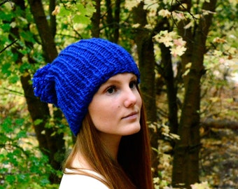 Slouchy Knit Hat With Huge Pom Pom \ THE ALAMEDA \ Royal Blue