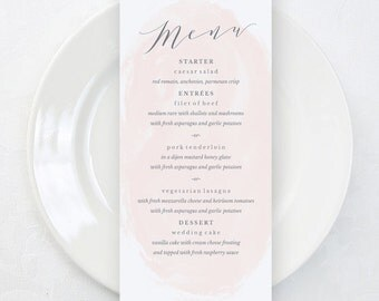 Printable Wedding Menu Template, Watercolor Wedding Menu, Blush Pink Wedding Menu Card, Menu Card, 4x9, PDF Template, Blush Wedding Menus