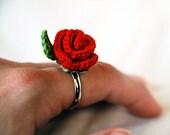 Flower Ring - Crochet Rose Ring - Crochet Jewelry - Hypoallergenic Jewelry - Nickel free Ring - Handmade Jewelry