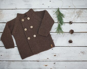 Brown baby coat / Hand knitted wool sweater / Baby / Kids / Children Cardigan / Duffle Coat / toddler sweater