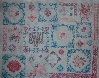 CROSS STITCH CHART Floral French Sampler Pattern 'Fleurs Delicates'