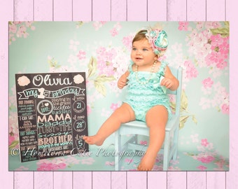 Vintage Shabby Chic First Birthday Chalkboard Poster | Girl Birthday Chalkboard | Birthday Board | Pink | Roses | Girly | *DIGITAL FILE*