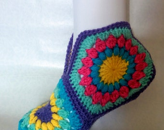 hexagon slippers booties crochet knit socks