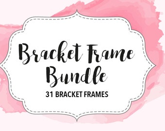 31 bracket frame borders with detail. Instant download. Border illustration clipart