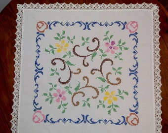 White hand embroidered square floral traycloth vintage Multicolour Flowers Embroidery Hand made White Table top flowery dresser scarf Polish