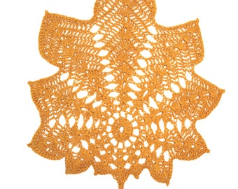 Cotton Crocheted Doily in shape of leaf Hand made Dark Beige Doily Lacework Lace Crochet Doily Shabby Chic Made in Poland Polish folk art 80