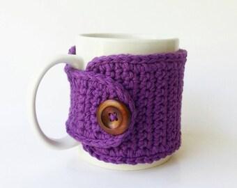 Purple Coffee Cozy - Cotton Tea Cup Cozy - Coffee Mug Cozy